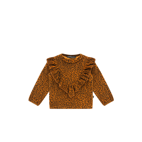 Front ruffled sweater golden brown leopard House of Jamie