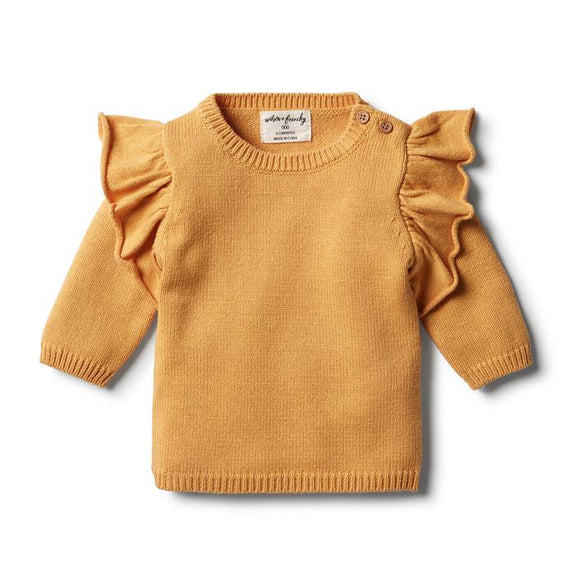 Golden apricot knitted ruffle jumper Wilson & Frenchy