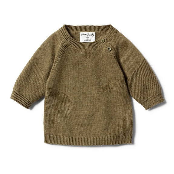 Olive jacquard jumper Wilson & Frenchy