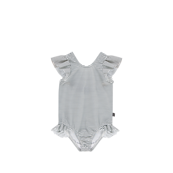 Ruffled swimsuit little stripes House of Jamie