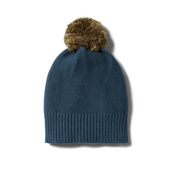 Steel blue knitted hat with pom pom Wilson & Frenchy