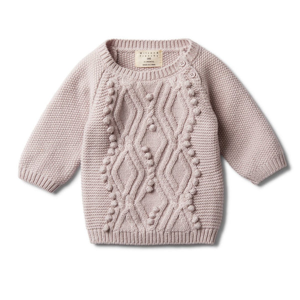 Fawn cable gebreide pompom jumper Wilson & Frenchy