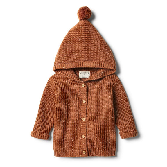 Toasted pecan rib knitted jacket Wilson & Frenchy