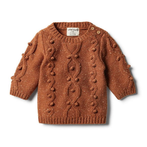 Toasted pecan knitted jumper with bolletjes Wilson & Frenchy