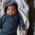 Organic Steel blue hooded jacket Wilson & Frenchy