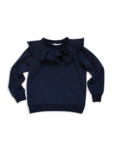 Midnight blue flounce collar sweatshirt Mad About Mini