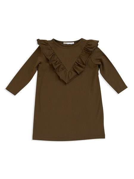 Dark olive frill dress Mad About Mini