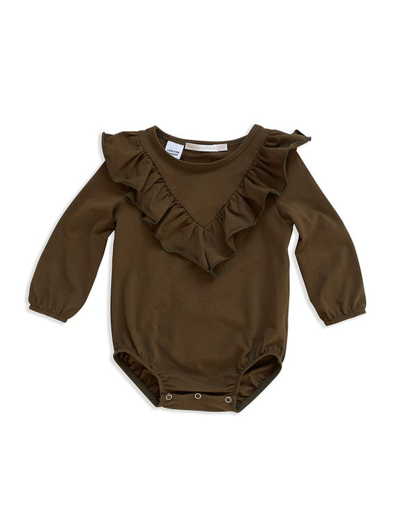 Dark olive frill romper Mad About Mini
