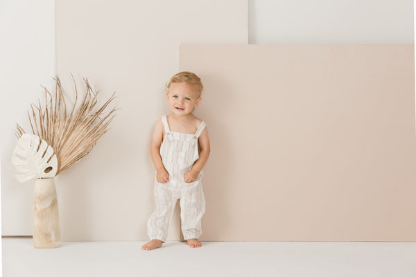 Sand stripe baby overall Rylee & Cru
