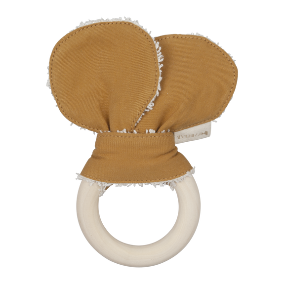 Animal teether bear ochre Fabelab