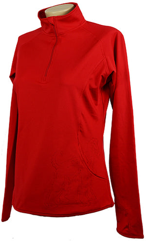 Afghan|Ladies Moisture Wicking Quarter Zip|Red - Laserpooch
