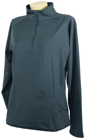 American Fox Hound|Ladies Moisture Wicking Quarter Zip|Grey - Laserpooch