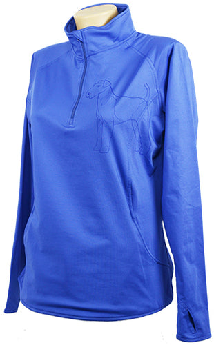 Airdale|Ladies Moisture Wicking Quarter Zip|Iris - Laserpooch, dogs, laser etched, sportswear, k9, AKC