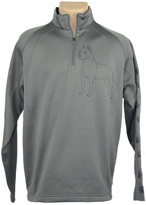 American Staff Terrier|Unisex Moisture Wicking Fleece Pullover Quarter Zip|Charcoal Grey - Laserpooch