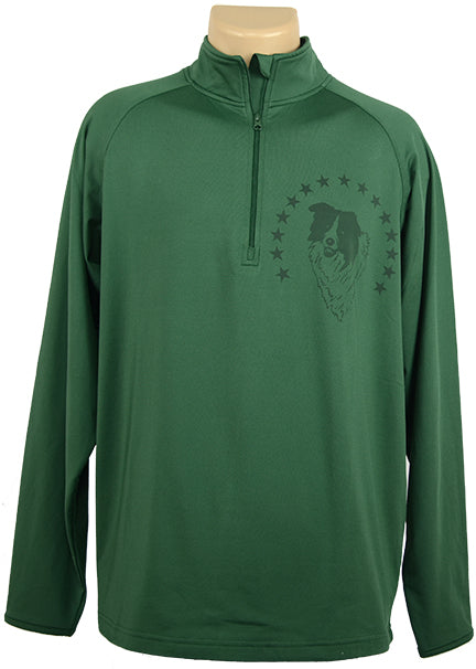 Border Collie w/Stars|Unisex Moisture Wicking Quarter Zip|Forest Green - Laserpooch, dogs, laser etched, sportswear, k9, AKC