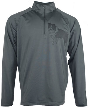 Border Collie|Unisex Moisture Wicking Quarter Zip|Grey - Laserpooch, dogs, laser etched, sportswear, k9, AKC