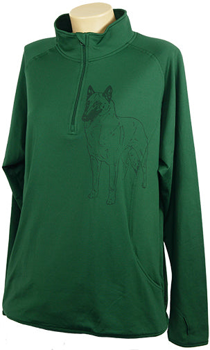 Belgain Malinois|Ladies Moisture Wicking Quarter Zip|Forest Green - Laserpooch, dogs, laser etched, sportswear, k9, AKC