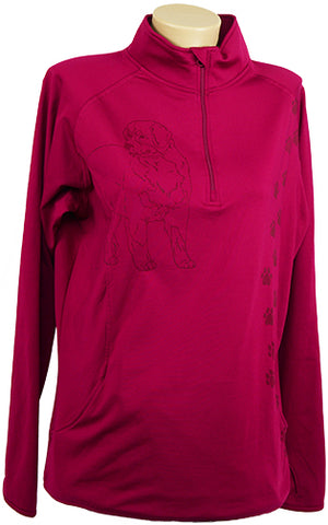 Bernise Mountain Dog|Ladies Moisture Wicking Quarter Zip|Fushia - Laserpooch