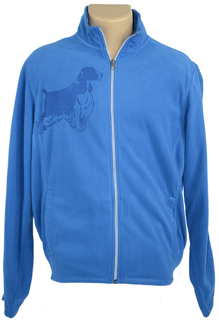 English Springer Spaniel|Microfleece Full Zip Jacket|Royal - Laserpooch, dogs, laser etched, sportswear, k9, AKC