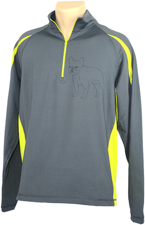 French Bulldog|Unisex Stretch 1/2-Zip Pullover| Charcoal Grey/Charge Green - Laserpooch, dogs, laser etched, sportswear, k9, AKC
