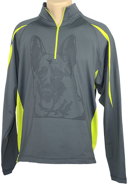 German Shepherd|Unisex Moisture Wicking Fleece Pullover Hoodie|Lime - Laserpooch, dogs, laser etched, sportswear, k9, AKC