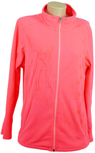 Labrador|Ladies Microfleece Jacket|Hot Coral - Laserpooch, dogs, laser etched, sportswear, k9, AKC