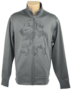 Labrador|Unisex Moisture Wicking Fleece Jacket|Grey - Laserpooch, dogs, laser etched, sportswear, k9, AKC