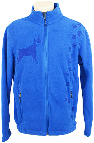 Minature Pinsher|Unisex Polar Fleece Jacket|| Royal - Laserpooch, dogs, laser etched, sportswear, k9, AKC