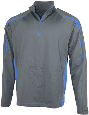Poodle|Unisex Moisture Wicking Pullover Quarter Zip|Royal - Laserpooch