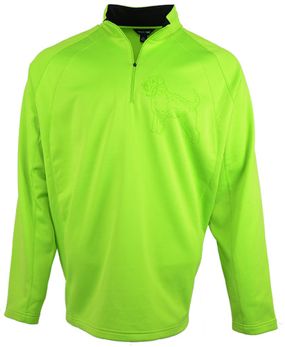 Soft Coat Wheaten|Unisex Moisture Wicking Fleece Pullover Quarter Zip|Lime - Laserpooch, dogs, laser etched, sportswear, k9, AKC