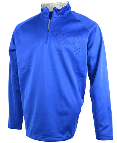 Sharpei|Unisex Moisture Wicking Fleece Pullover Quarter Zip|Royal - Laserpooch, dogs, laser etched, sportswear, k9, AKC