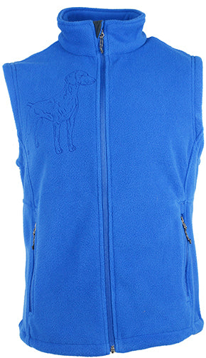 Weimaraner|Unisex Full Zip Polar Fleece Vest|Royal - Laserpooch, dogs, laser etched, sportswear, k9, AKC