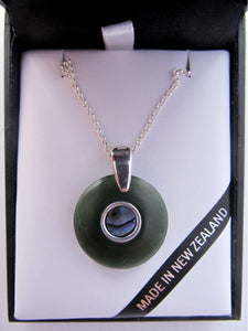 Greenstone pendant with Paua inlay