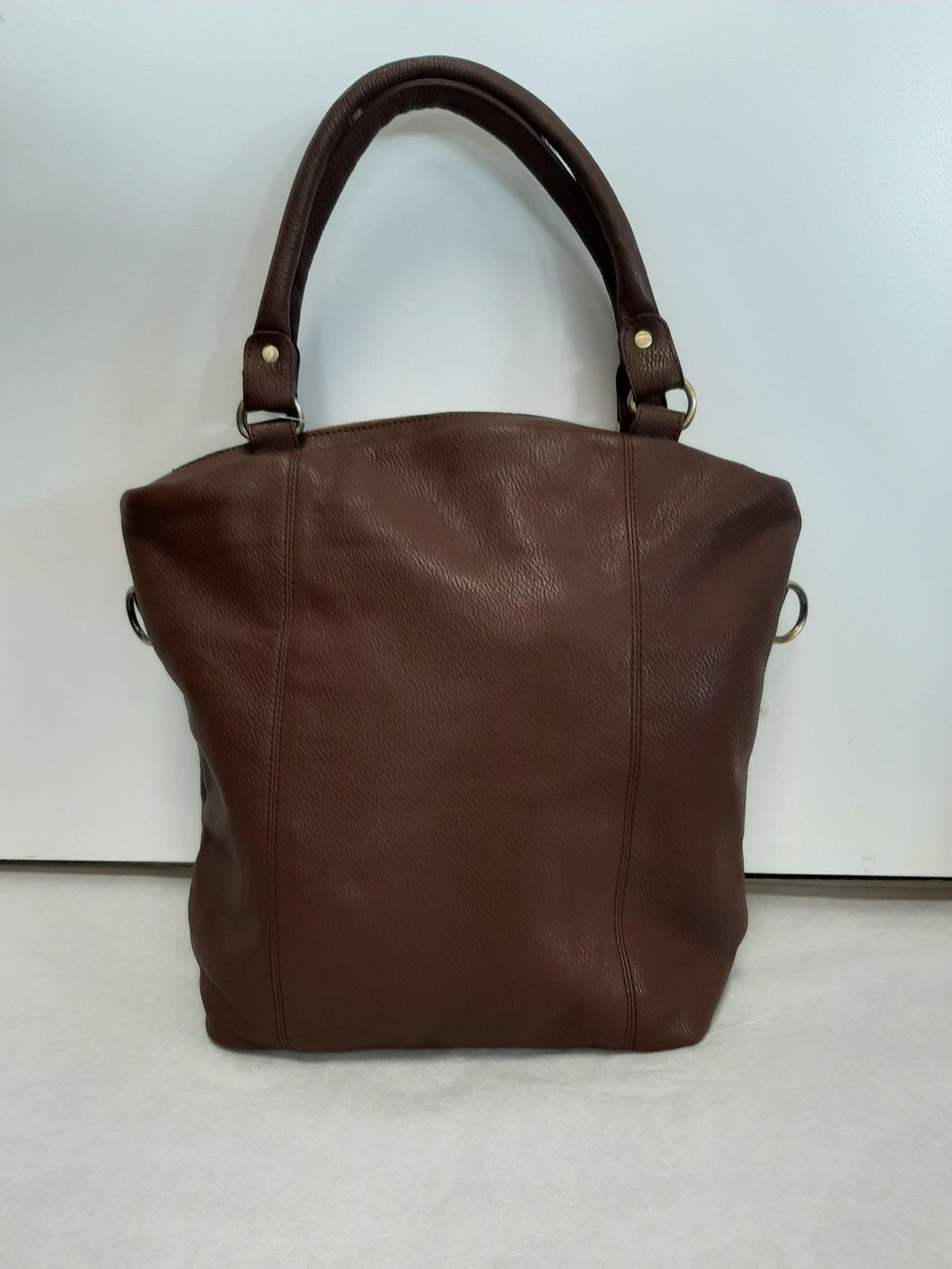 Brown Grain Leather Fold Over Tote