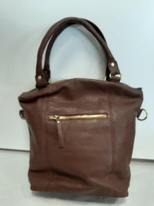 Back of Brown Grain Leather Fold Over Tote