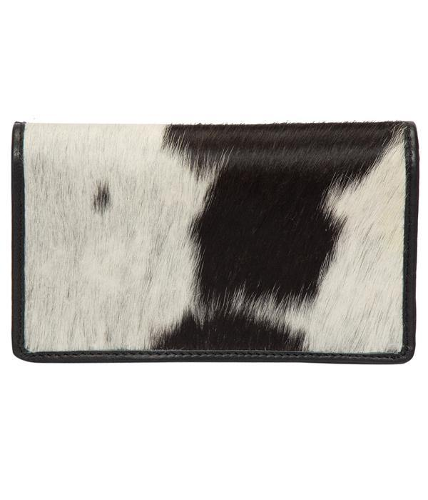 Distinct Black and White Cowhide Slim Ladies Wallet