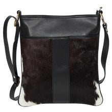 Load image into Gallery viewer, Dark Black and White Cowhide Sling Bag