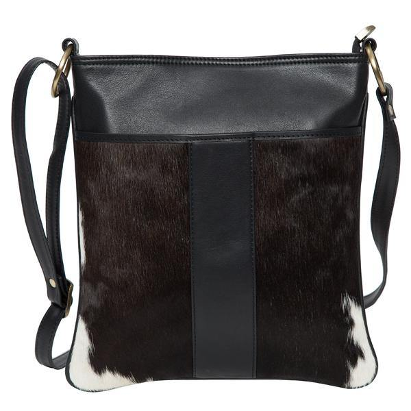 Dark Black and White Cowhide Sling Bag