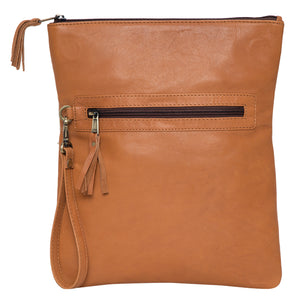 Tan and White Cowhide Fold-over Bag