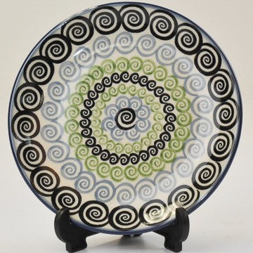 Polish Pottery Round Side Plate Whirlpool Blue/Green