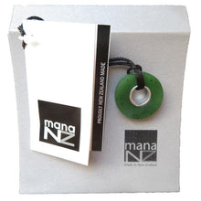 Load image into Gallery viewer, Greenstone doughnut shaped pendant on black cord