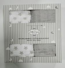 Grey Stars Bamboo/Cotton Muslin Wraps Pack 2
