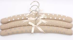 Embroidered coat hangers-set: Spots Linen