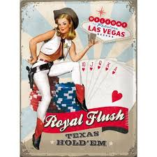 Retro Royal Flush Metal Sign