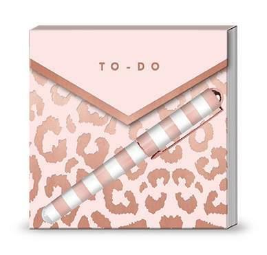 Blush Leopard - Matchbook Notepad with Pen