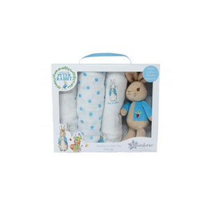 Peter Rabbit Soft Toy And Muslin Set - Tigerlily Gift Store