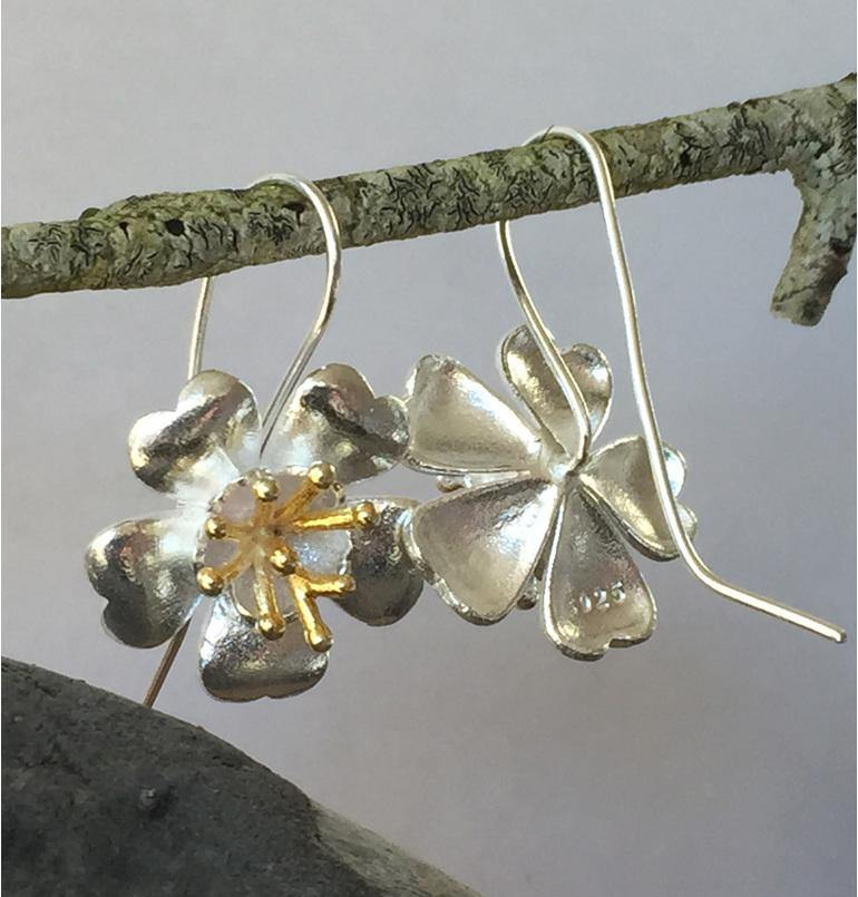 Sterling silver buttercup flower drop earring
