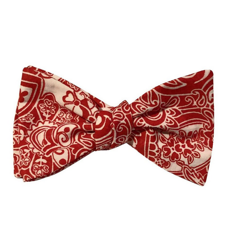 Bowtie - Red Floral Seersucker
