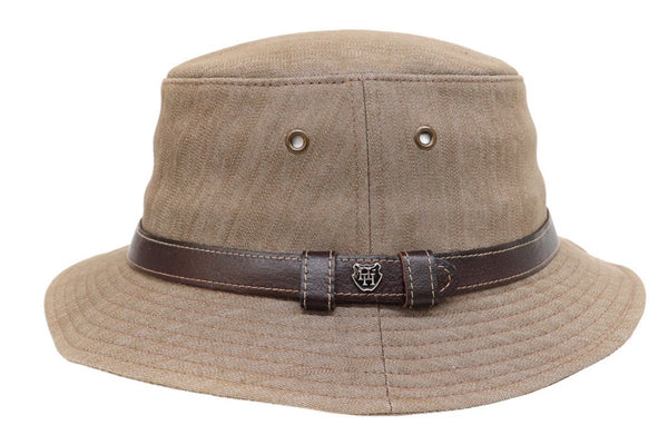 Hills Hats Cotton Bucket Hat with Leather Trim - Earth