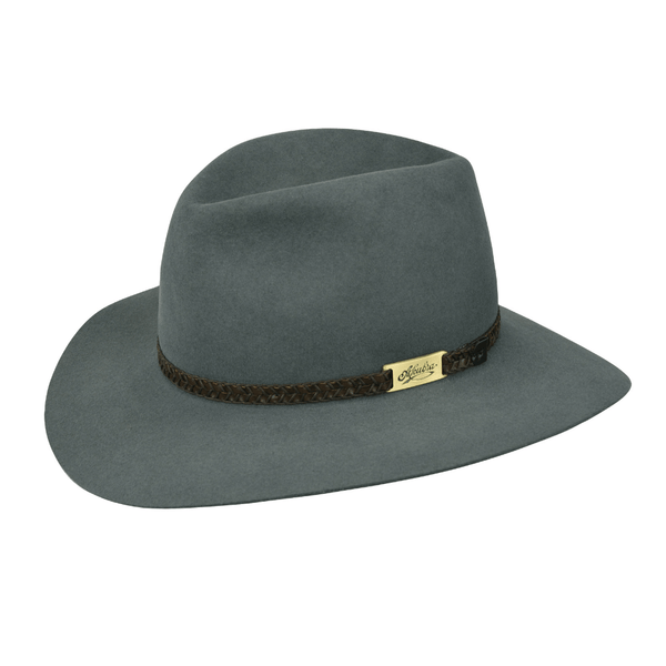 Angle view of Akubra Avalon hat in Tempest colour